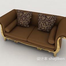 棕色欧式双人沙发3d模型下载
