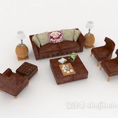 新古典皮质组合沙发3d模型下载