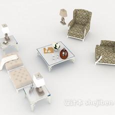 白色欧式组合沙发3d模型下载
