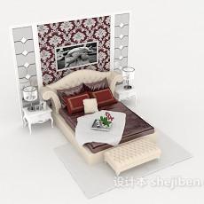简约欧式家居床3d模型下载