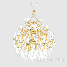 会议厅大型水晶吊灯3d模型下载