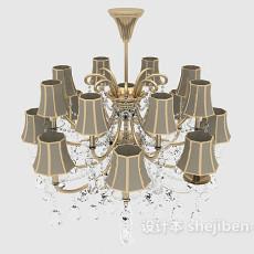新古典居家吊灯3d模型下载