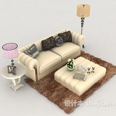 现代清新双人沙发3d模型下载
