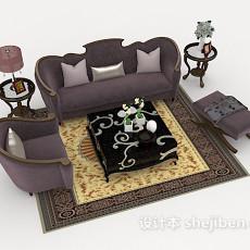 紫色新古典组合沙发3d模型下载