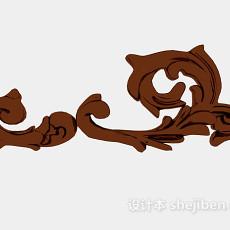 欧式棕色雕花装饰3d模型下载