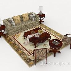 新古典风格居家组合沙发3d模型下载