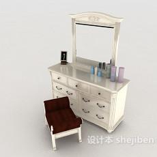 新古典白色梳妆台3d模型下载