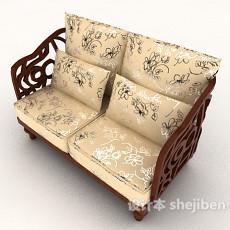 新古典双人沙发3d模型下载