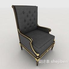 欧式灰色高背单人沙发3d模型下载