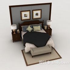 新古典风格实木双人床3d模型下载