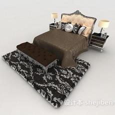 居家新古典双人床3d模型下载