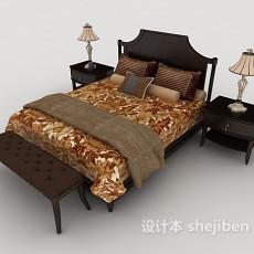 新古典双人床3d模型下载