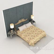 清新欧式家居床3d模型下载
