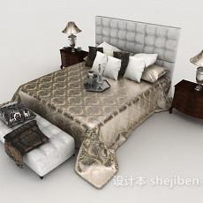 新古典高档双人床3d模型下载