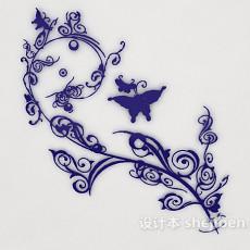 蓝色家居墙饰3d模型下载