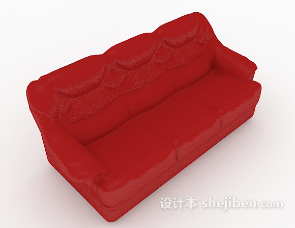 大红色家居多人沙发