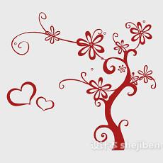 红色装饰墙绘3d模型下载