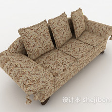 欧式风格碎花多人沙发3d模型下载