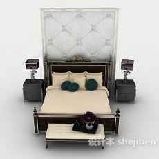新古典居家双人床3d模型下载