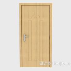 黄色简约实木房门3d模型下载