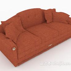 橙色三人沙发3d模型下载