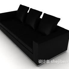 黑色家居三人沙发3d模型下载