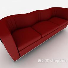 红色三人多人沙发3d模型下载
