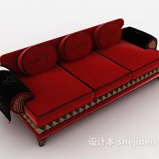绒布三人沙发3d模型下载