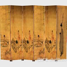 传统中式韵味屏风3d模型下载