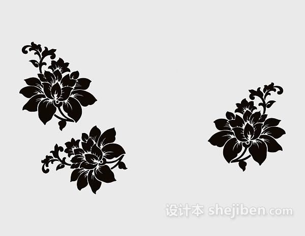 黑色家居花朵墙绘