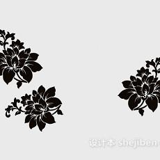 黑色家居花朵墙绘3d模型下载