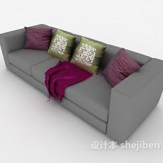 灰色家庭式三人沙发3d模型下载