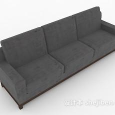 中式深色多人沙发3d模型下载