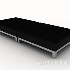 黑色现代沙发凳3d模型下载
