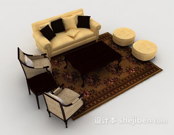 简洁欧式组合沙发
