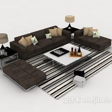 家居深棕色组合沙发3d模型下载