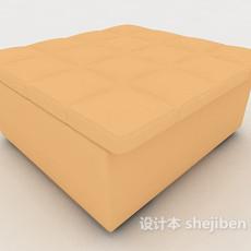 橙色沙发凳3d模型下载