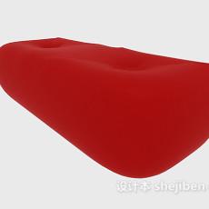 红色简单沙发凳3d模型下载