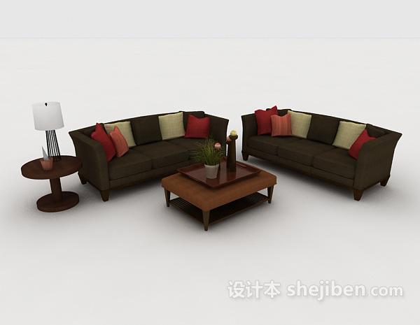 木质家居深绿色组合沙发
