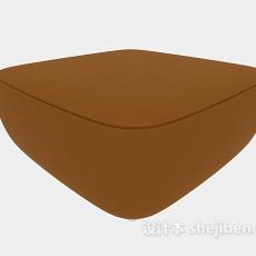 棕色简单沙发凳3d模型下载