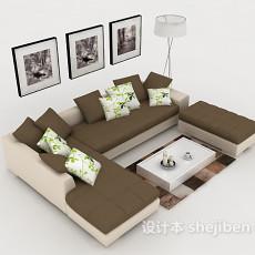 现代棕色简约休闲组合沙发3d模型下载