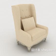 欧式常见单人沙发3d模型下载