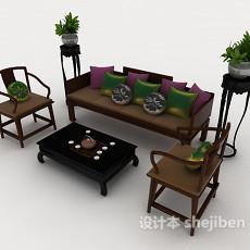 中式木质沙发组合3d模型下载