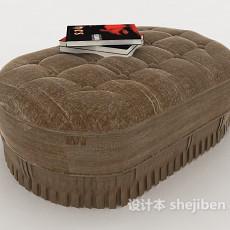 棕色软包沙发凳3d模型下载
