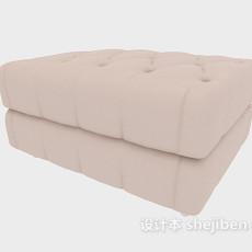 米白色沙发凳3d模型下载