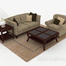 中式棕色组合沙发3d模型下载