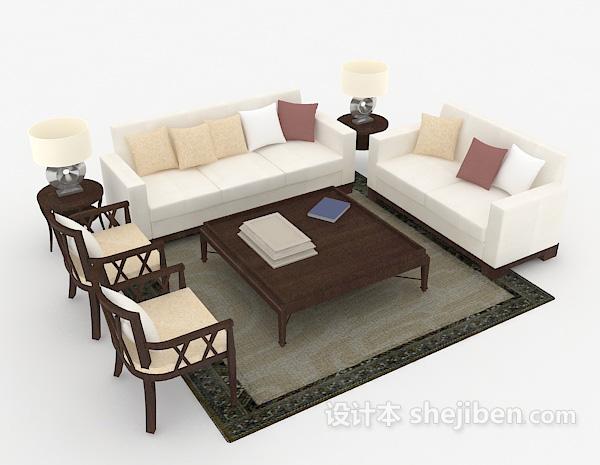 新中式简洁组合沙发