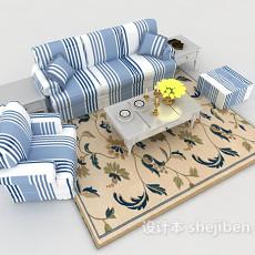 地中海蓝白条纹沙发3d模型下载