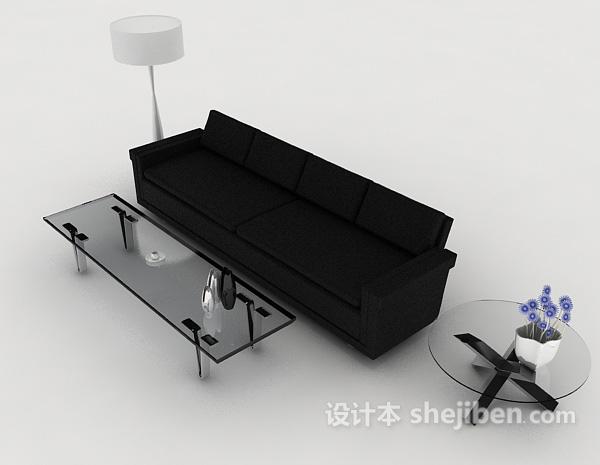 现代黑色简洁沙发