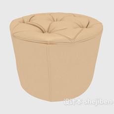 现代简约圆形沙发凳3d模型下载